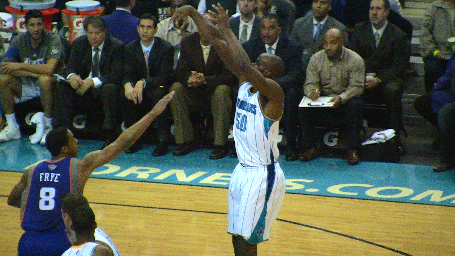 Emeka's improved close-range jumpers have really helped the Hornets this season.