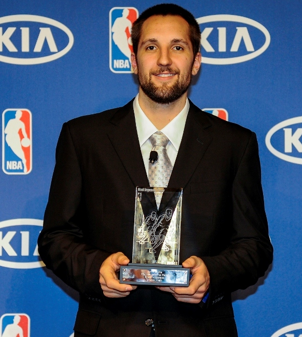 Ryan Anderson with the 2012 NBA Most Improved Player Award