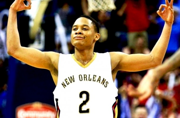 Mar 31, 2016; New Orleans, LA, USA; New Orleans Pelicans guard Tim Frazier (2) reacts after scoring a three point basket against the Denver Nuggets during the second half at the Smoothie King Center. The Pelicans won 101-95. Mandatory Credit: Derick E. Hingle-USA TODAY Sports